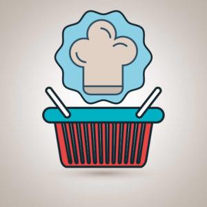 ilustração de uma cesta básica.