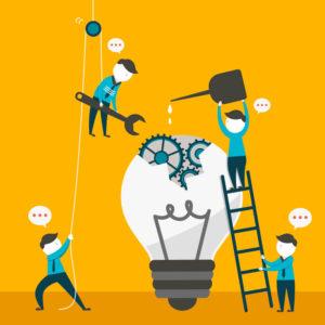 ilustração de homens trabalhando em inovação.